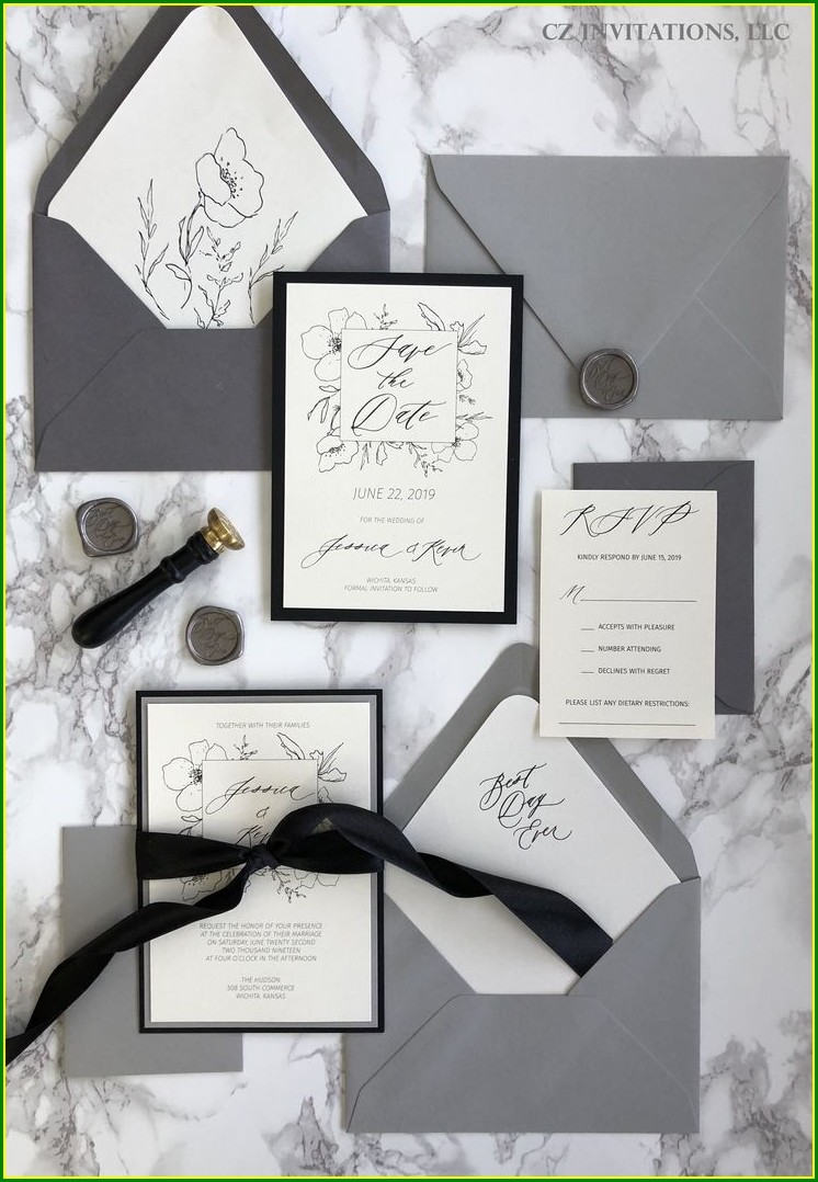 Grey Wedding Invitation Kits