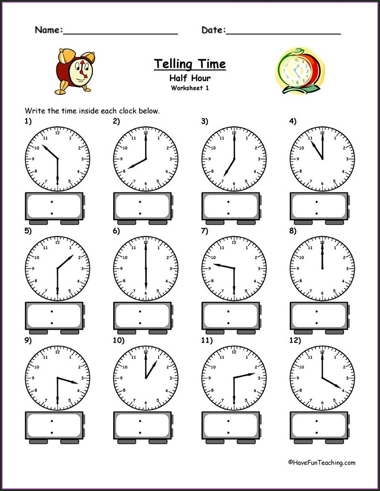 Half Hour Worksheet Time Telling Worksheets