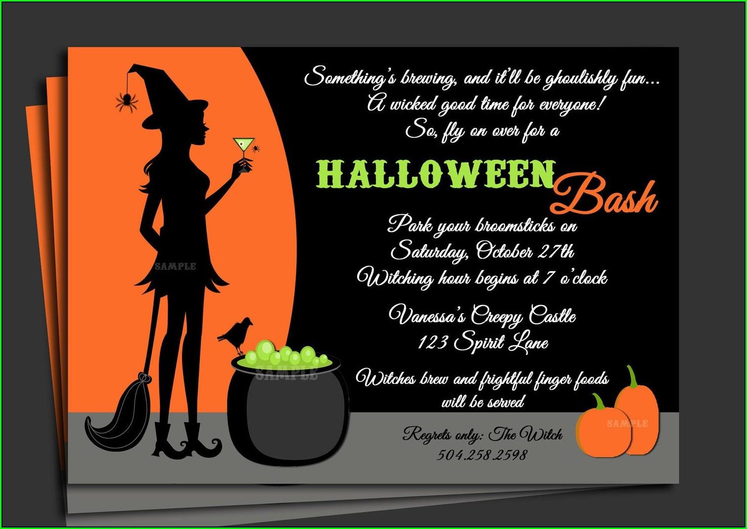 Halloween Invitation Wording Bring Food