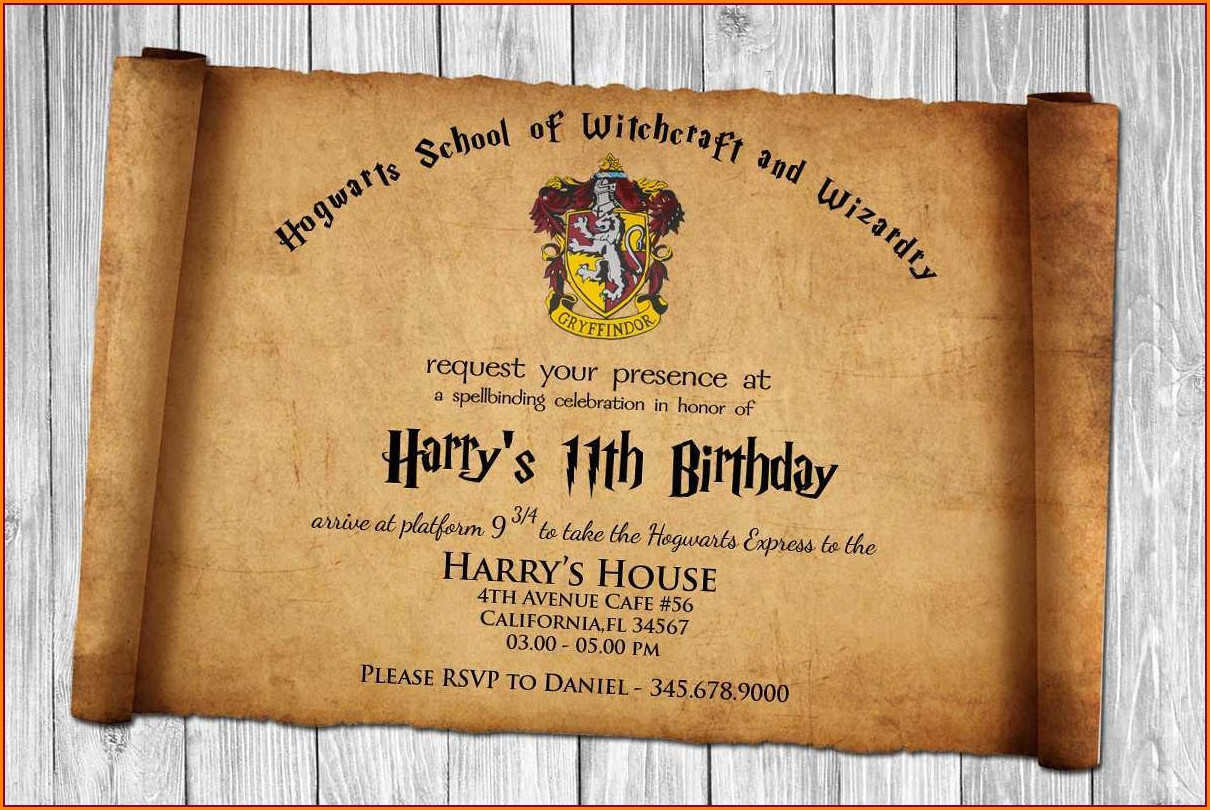 Harry Potter Invitation Template Free