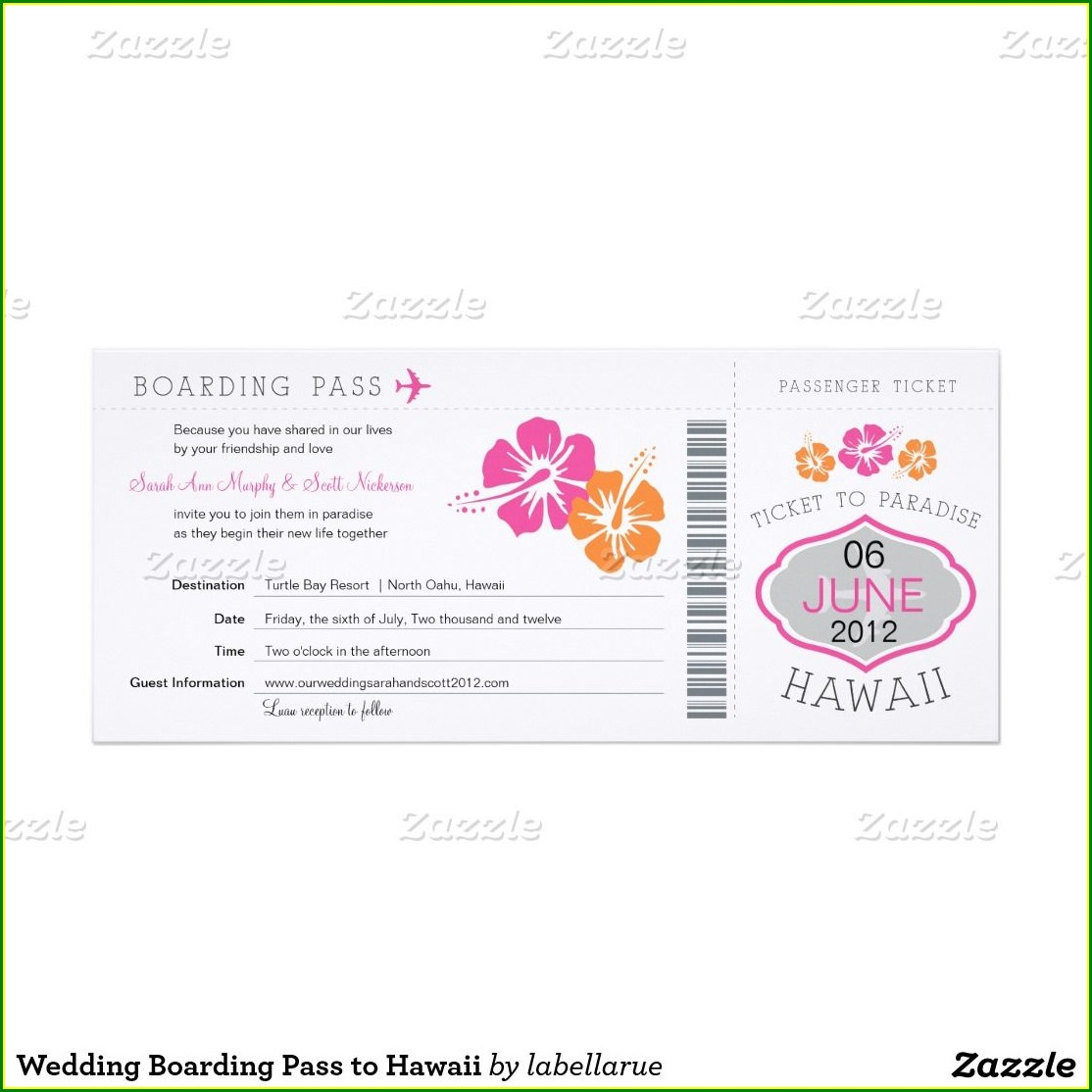 Hawaii Boarding Pass Wedding Invitations