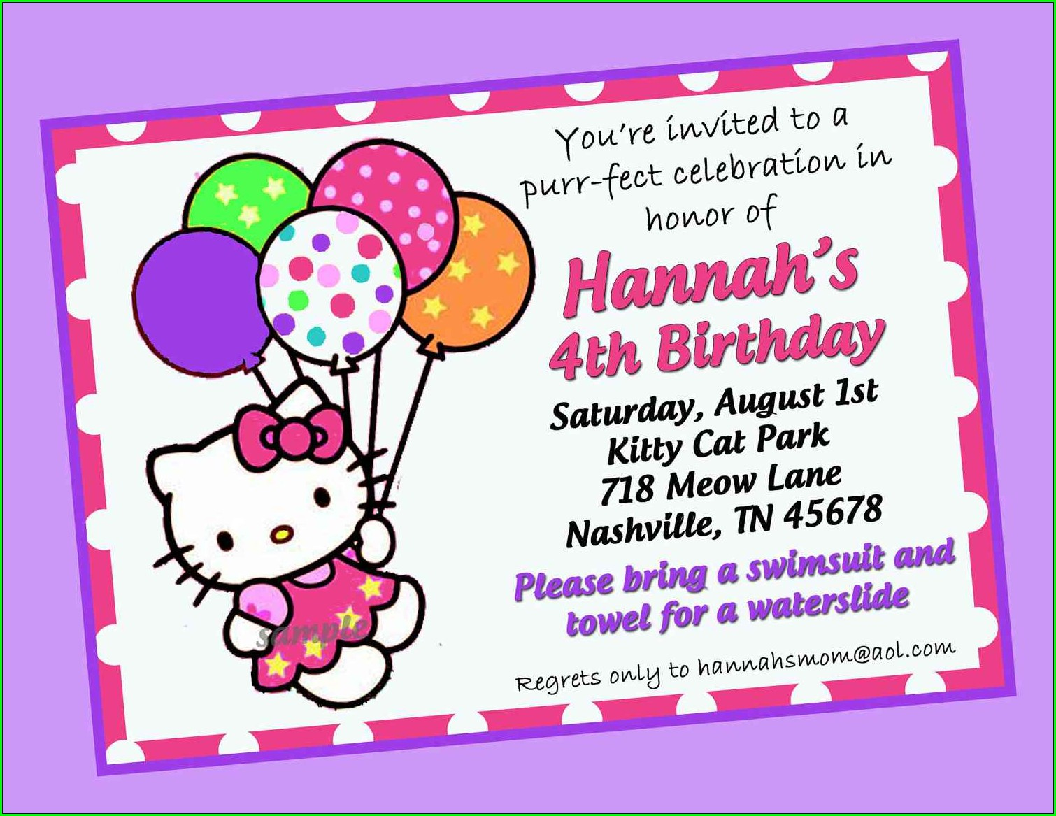 Hello Kitty 7th Birthday Invitation Background