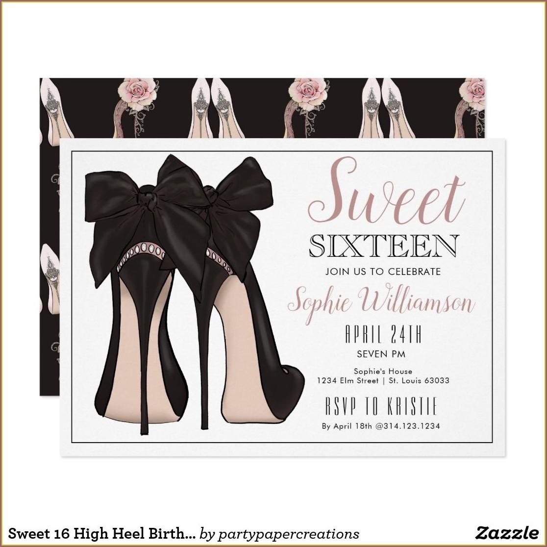 High Heel Birthday Invitations