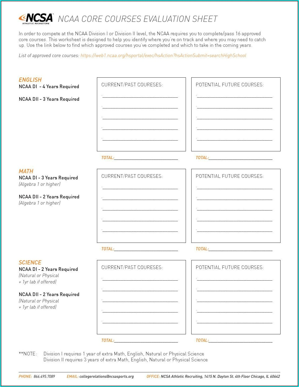High School Academic Planning Worksheet