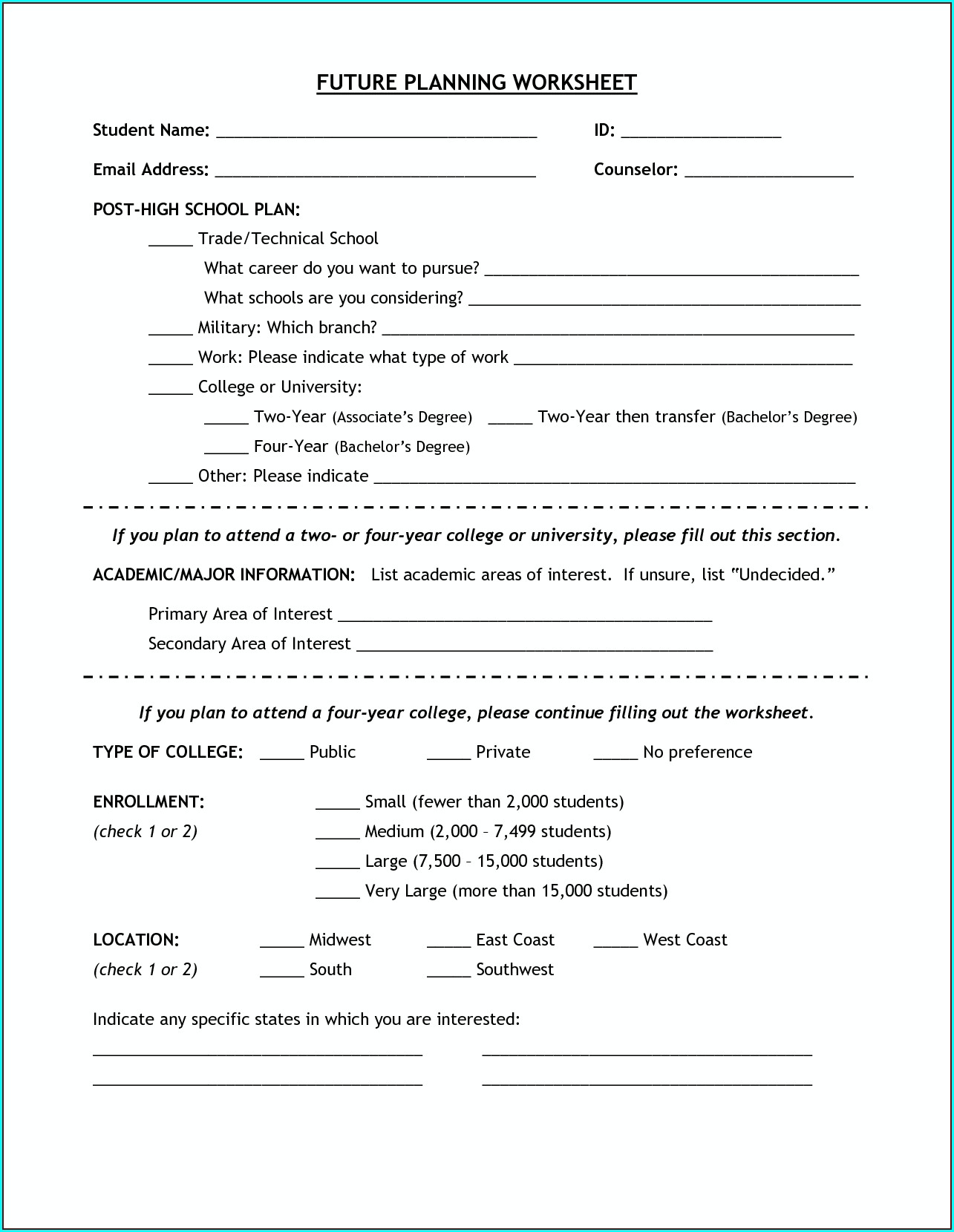 High School Career Planning Worksheet