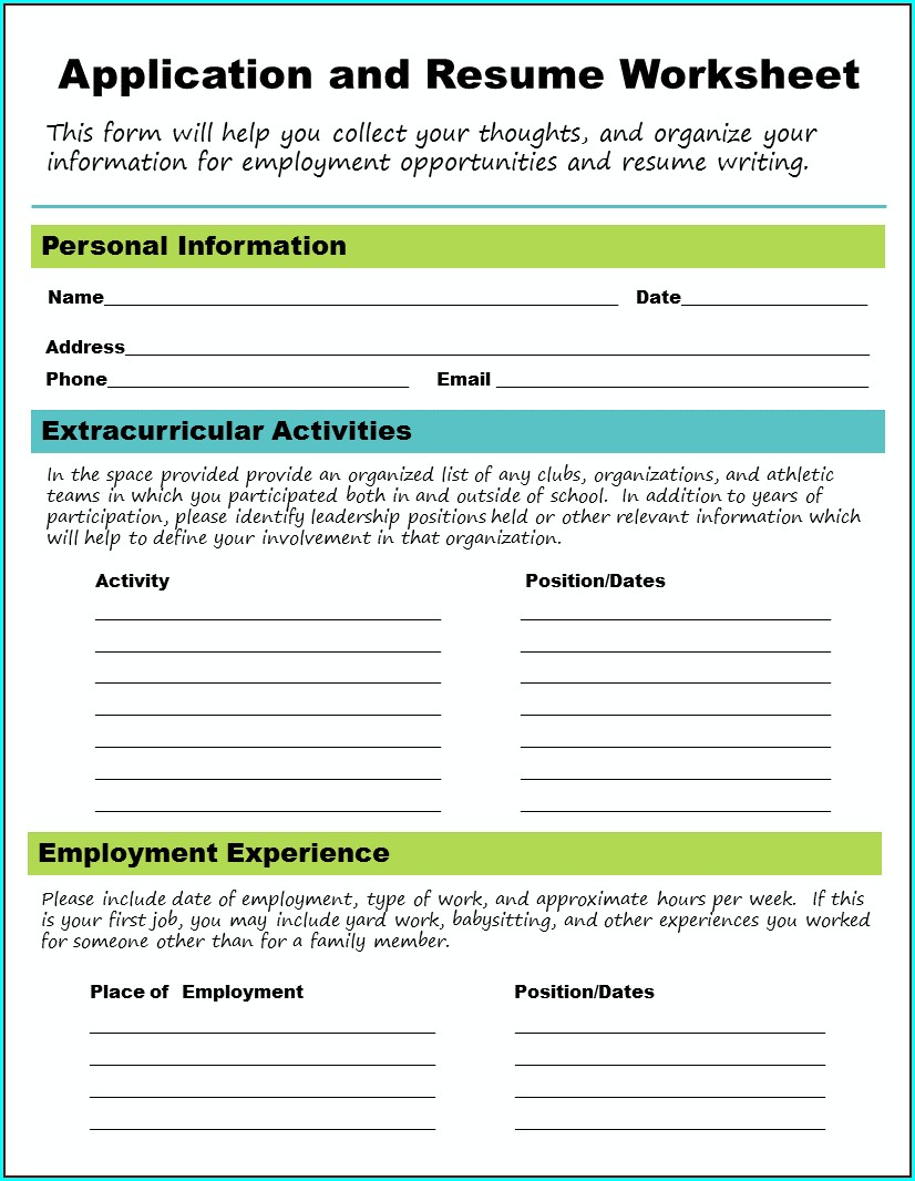 High School Future Planning Worksheet