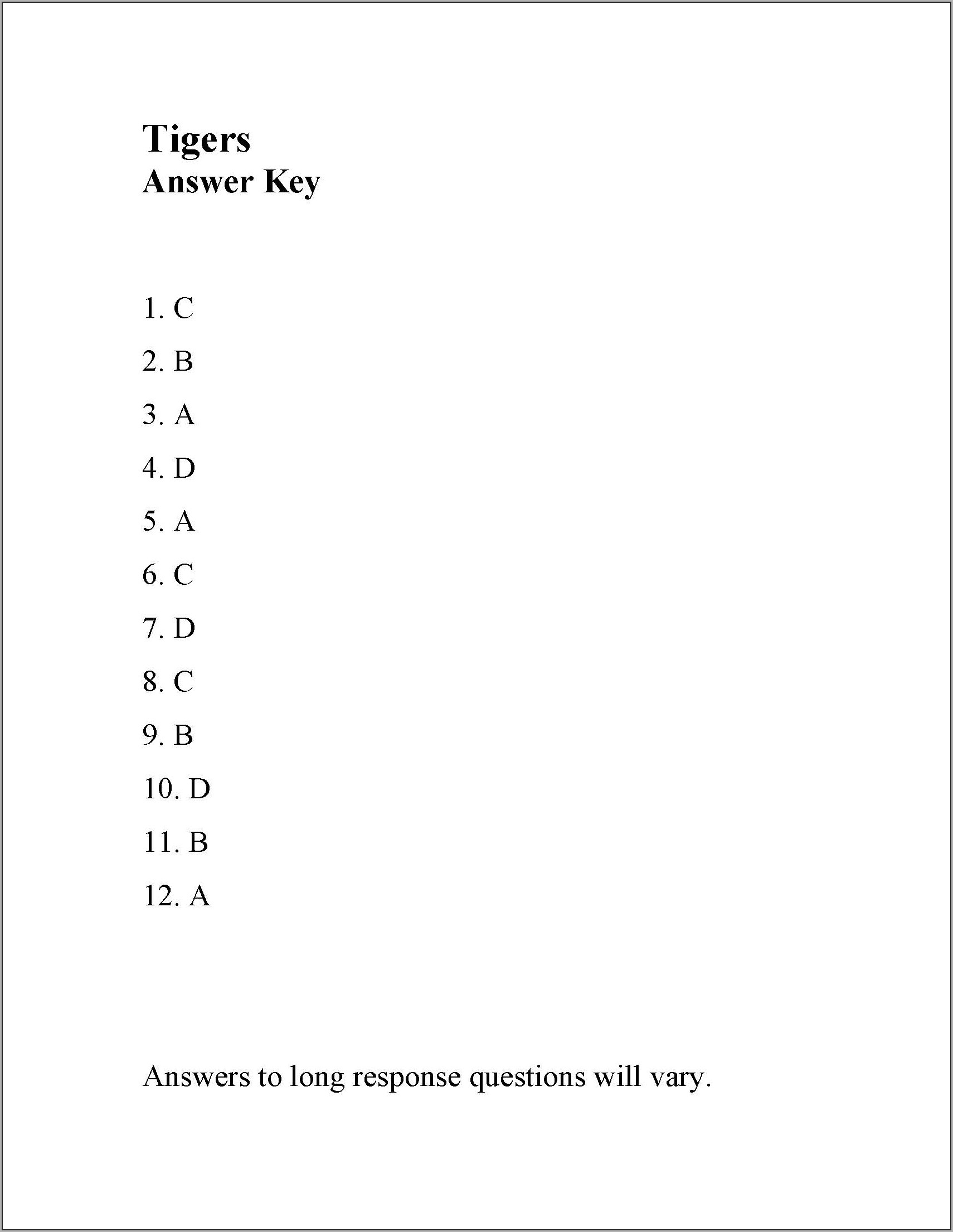 High School Reading Comprehension Worksheets With Answer Key