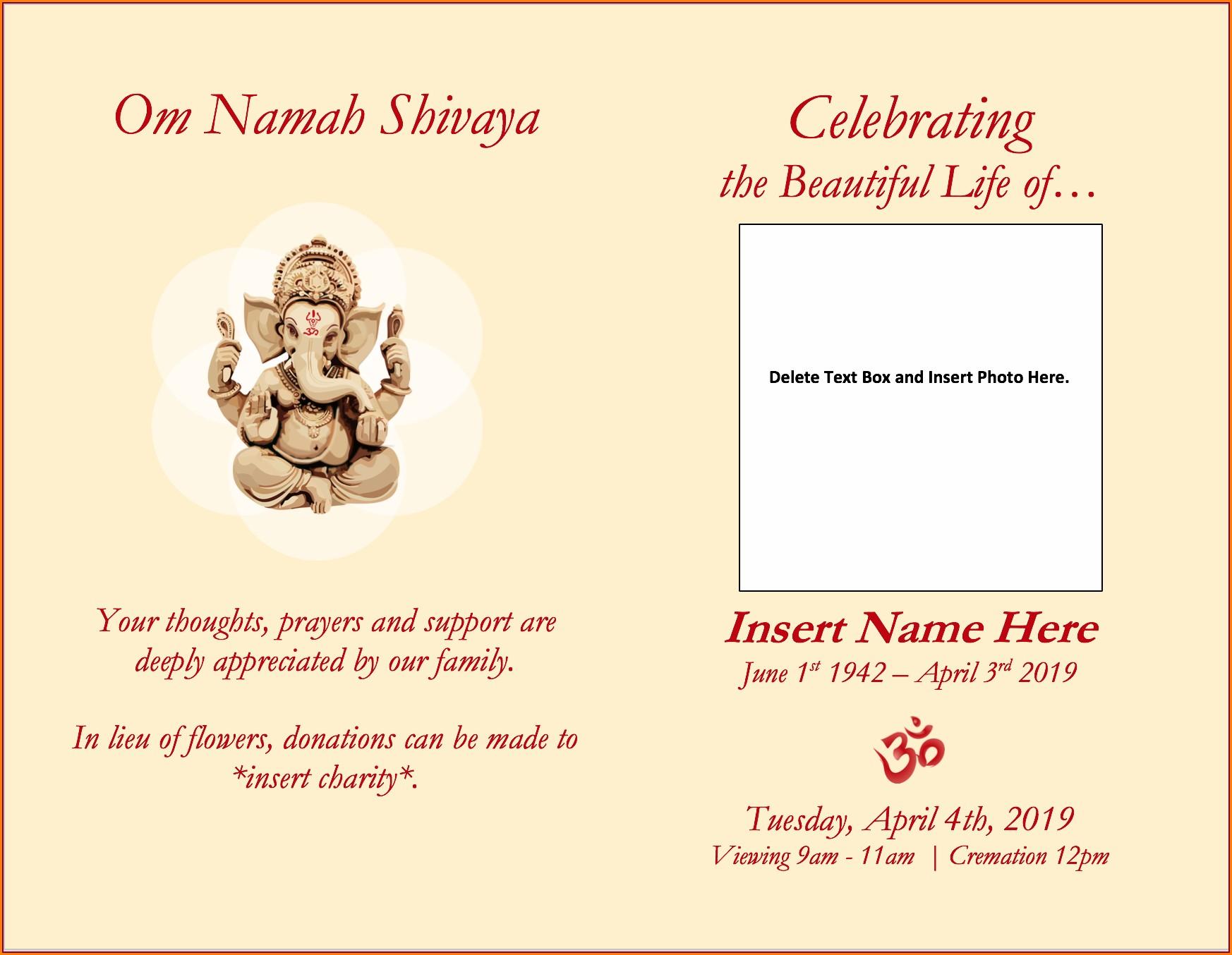 Hindu Funeral Invitation Template