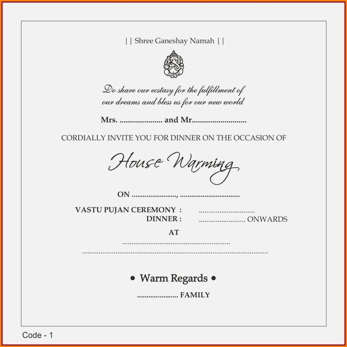 Hindu House Warming Invitation Message India