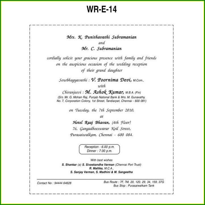 Hindu Wedding Invitation Wording Templates