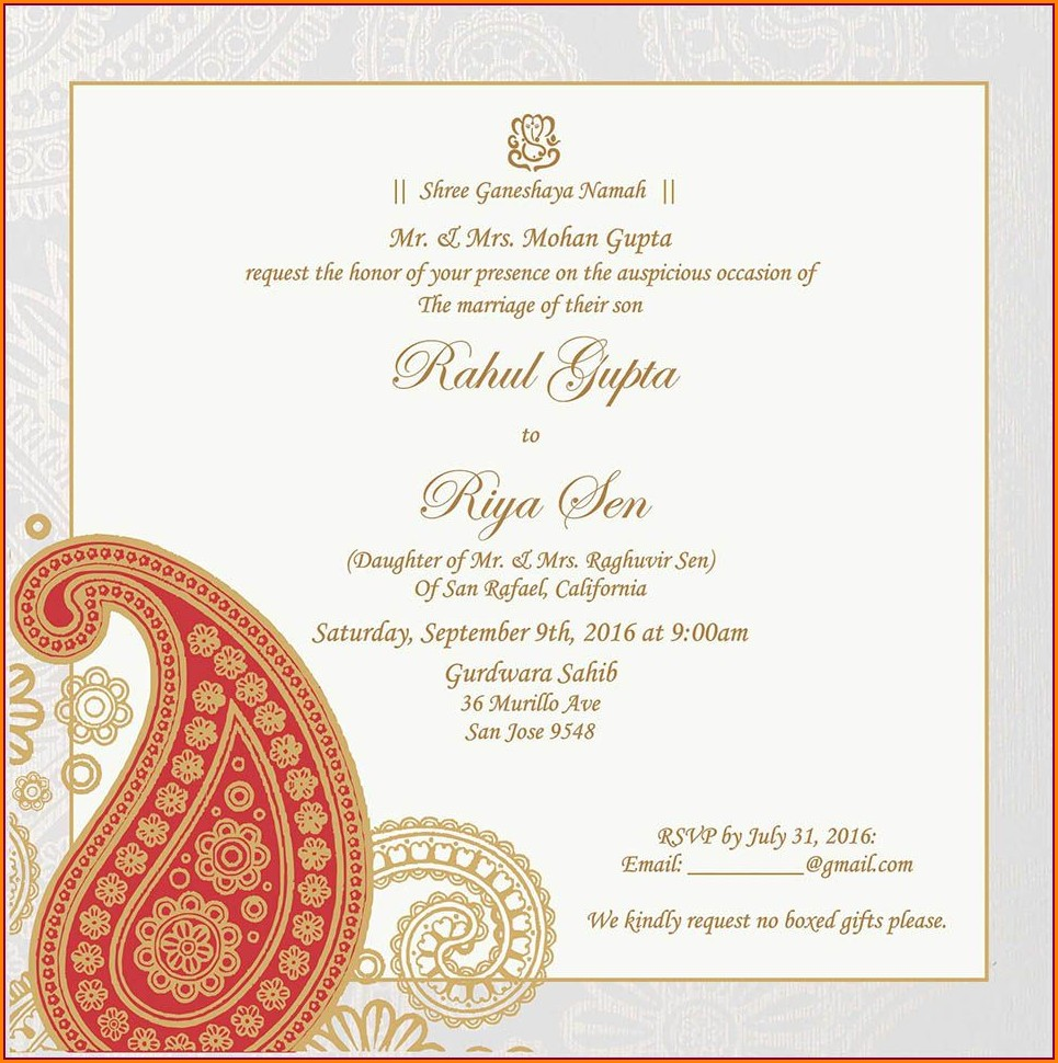 Hindu Wedding Invitation Wording