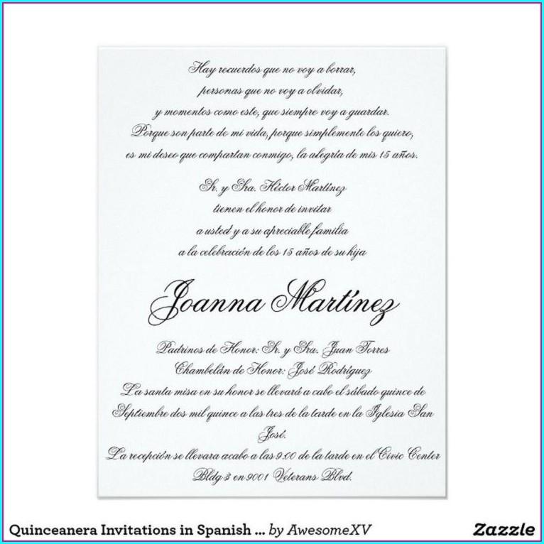 Hispanic Quinceanera Invitation Wording In Spanish