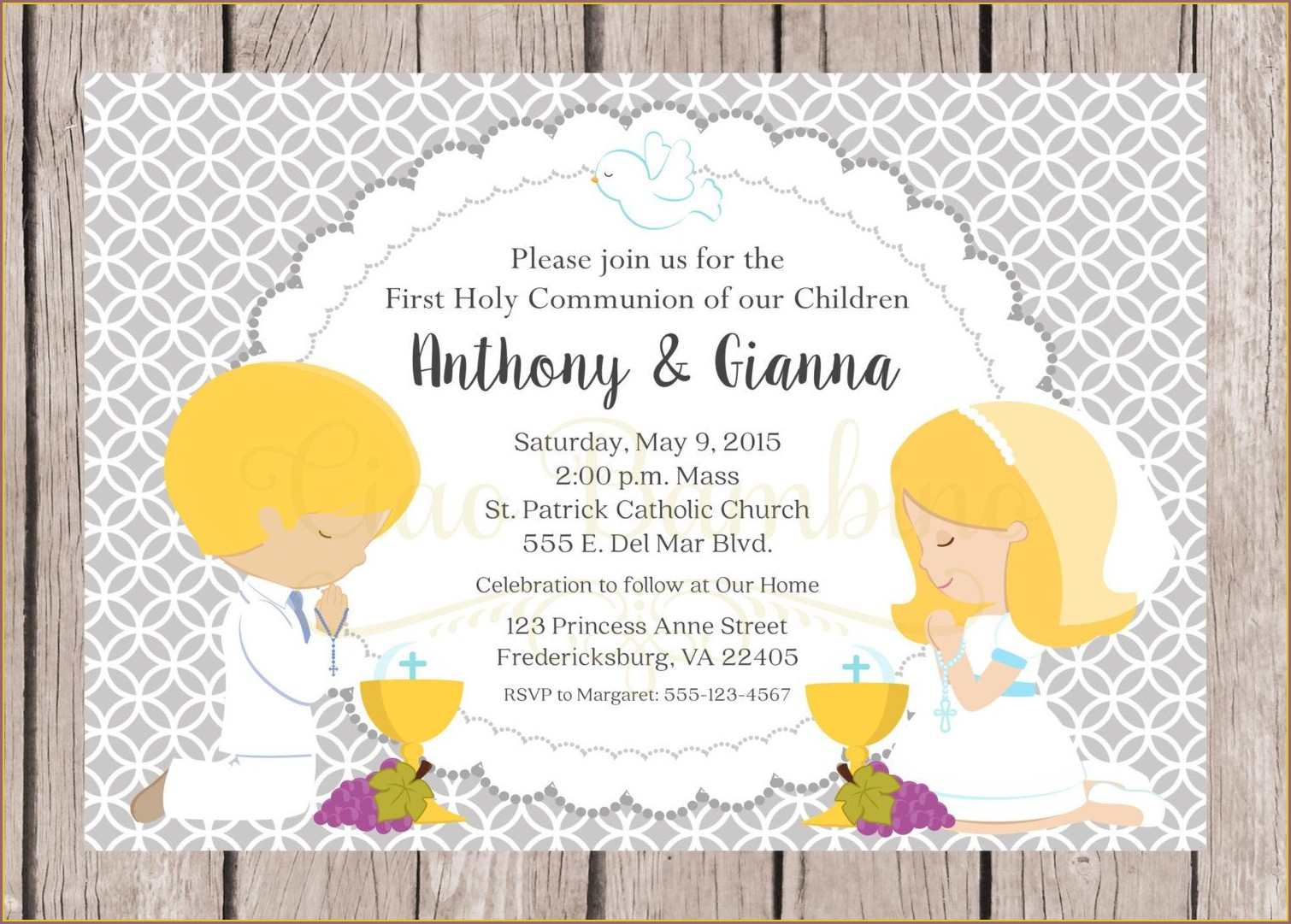 Holy Communion Invitations For Twins