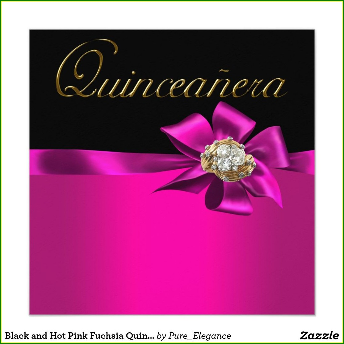 Hot Pink Quinceanera Invitations