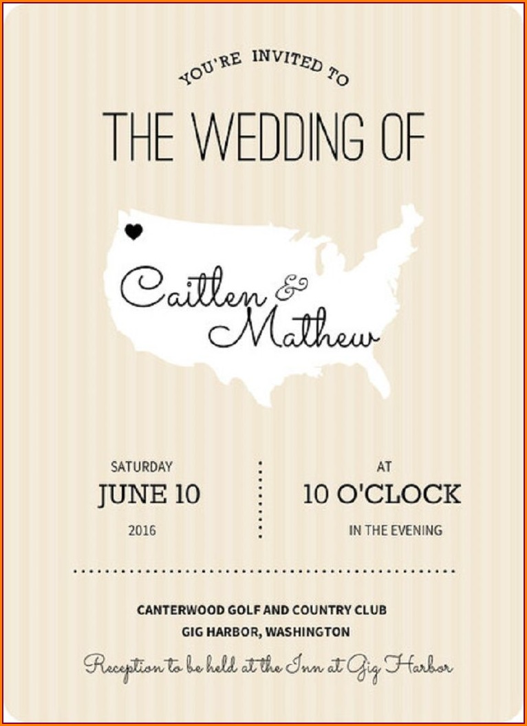 Informal Evening Wedding Invitation Wording