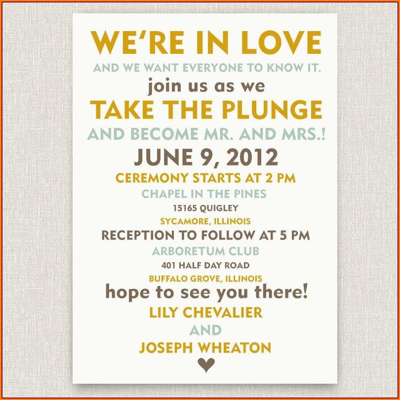 Informal Funny Wedding Invitation Wording
