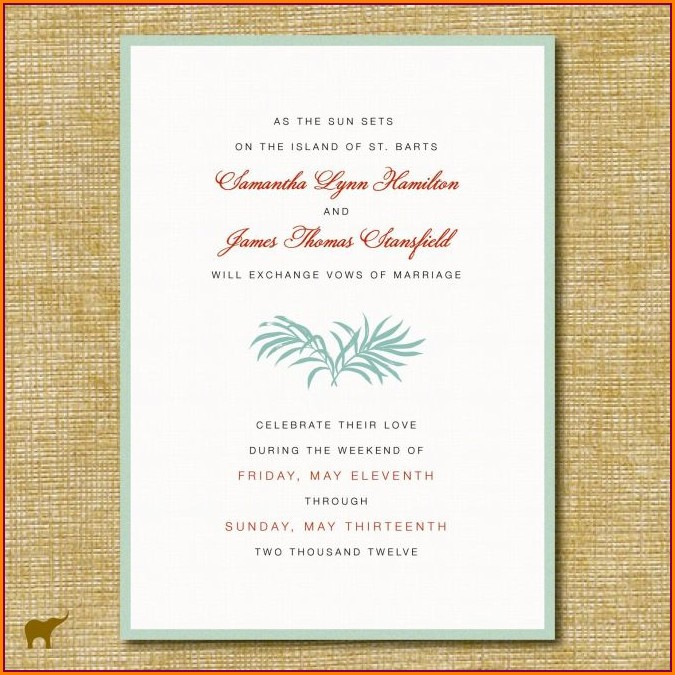 Informal Post Wedding Reception Invitation Wording