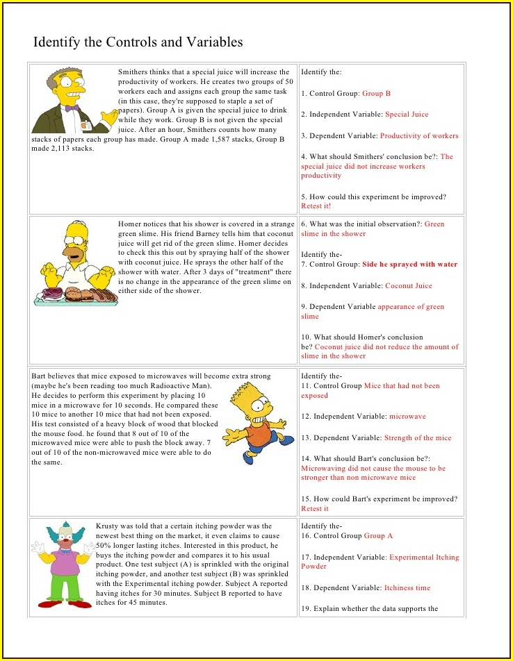 Introduction To Scientific Method And Experimental Design Worksheet Answers