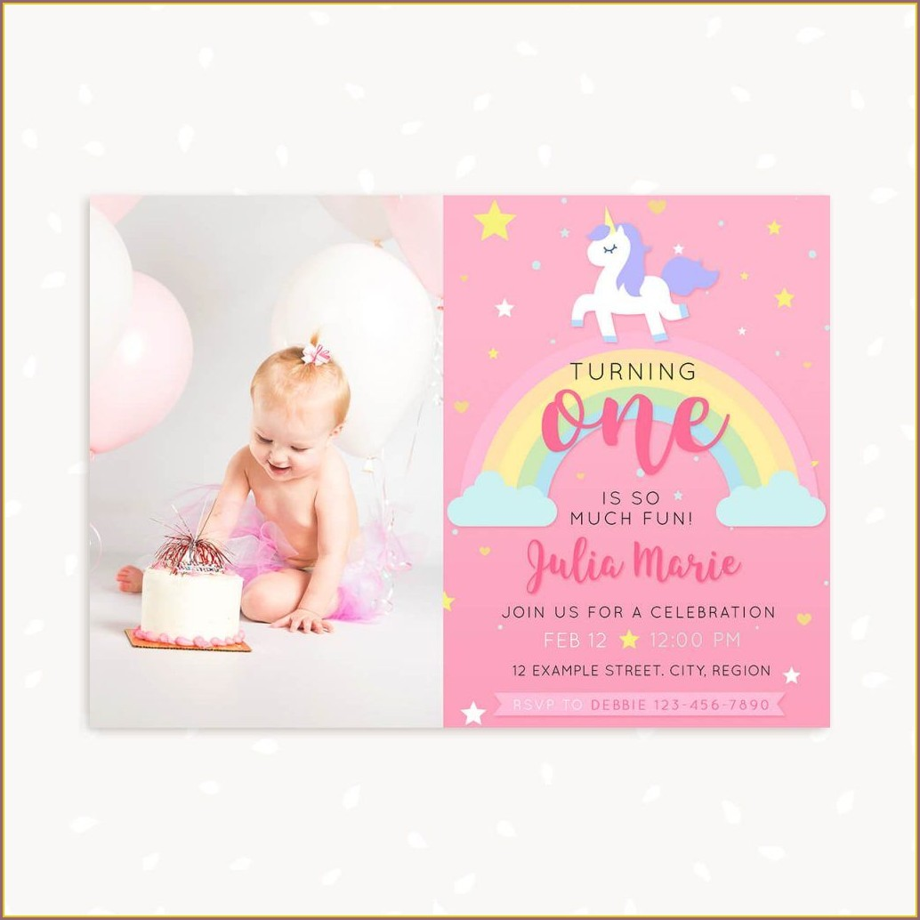 Invitation Card For 1st Birthday Unicorn