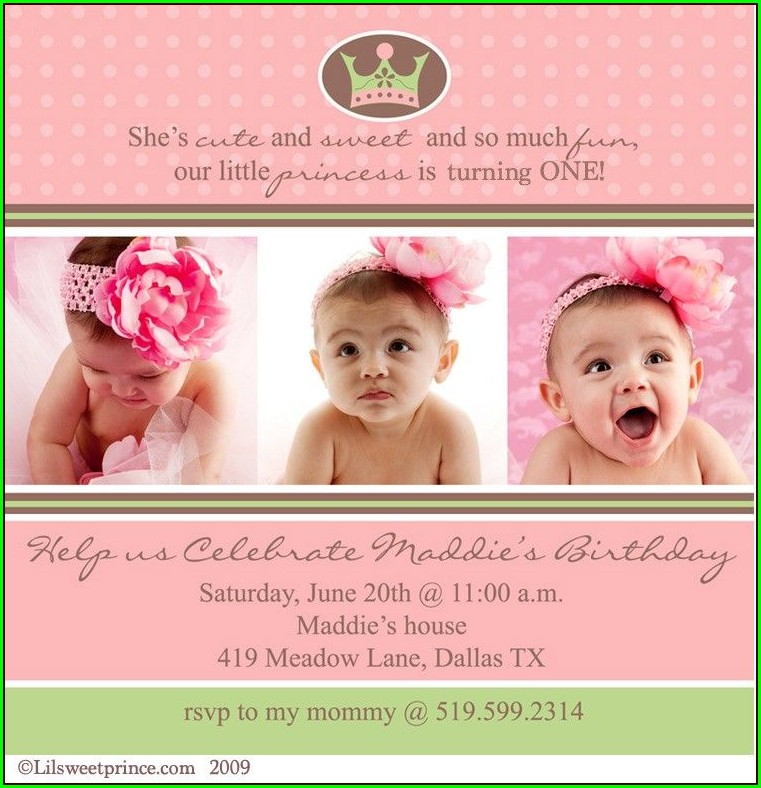 Invitation Layout For 1st Birthday Girl