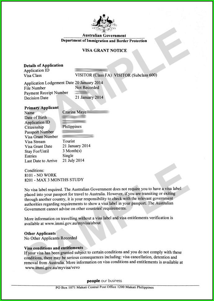 Invitation Letter For Australian Tourist Visa 600