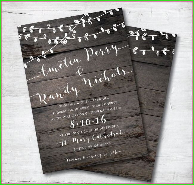 Invitation Rustic Wood Background With Lights