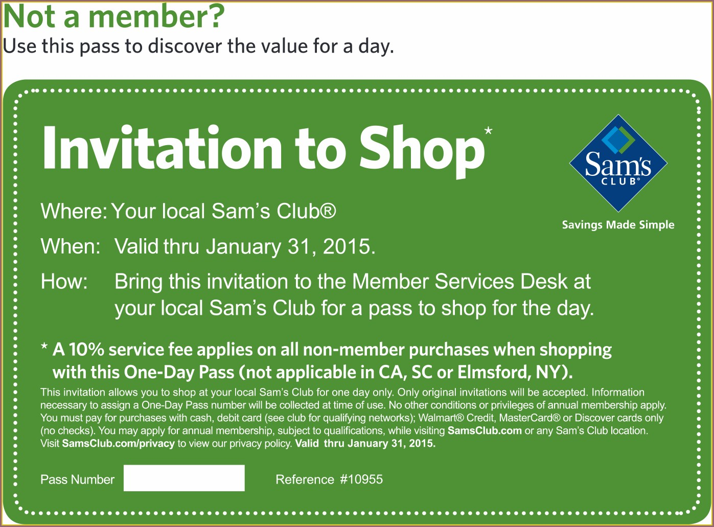 Invitation To Shop At Sams Club