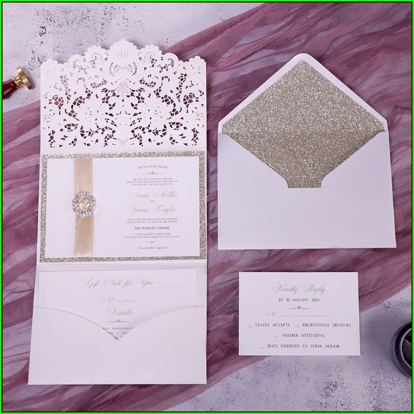 Ivory And Champagne Wedding Invitations
