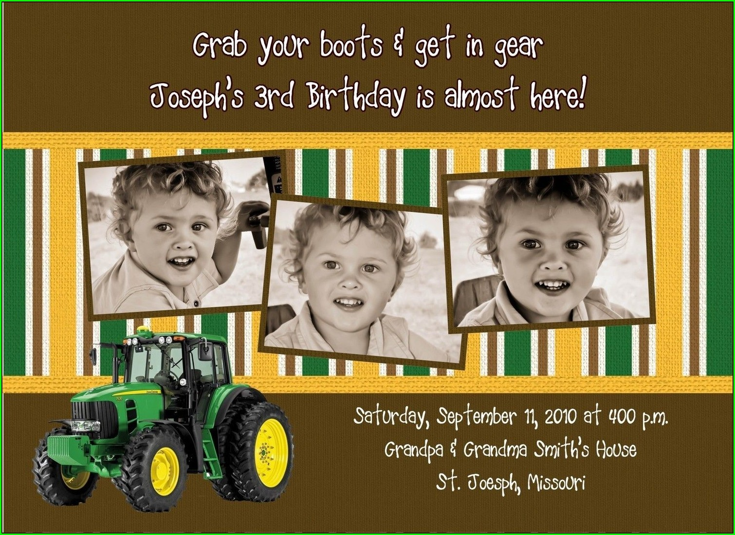 John Deere Baby Invitations
