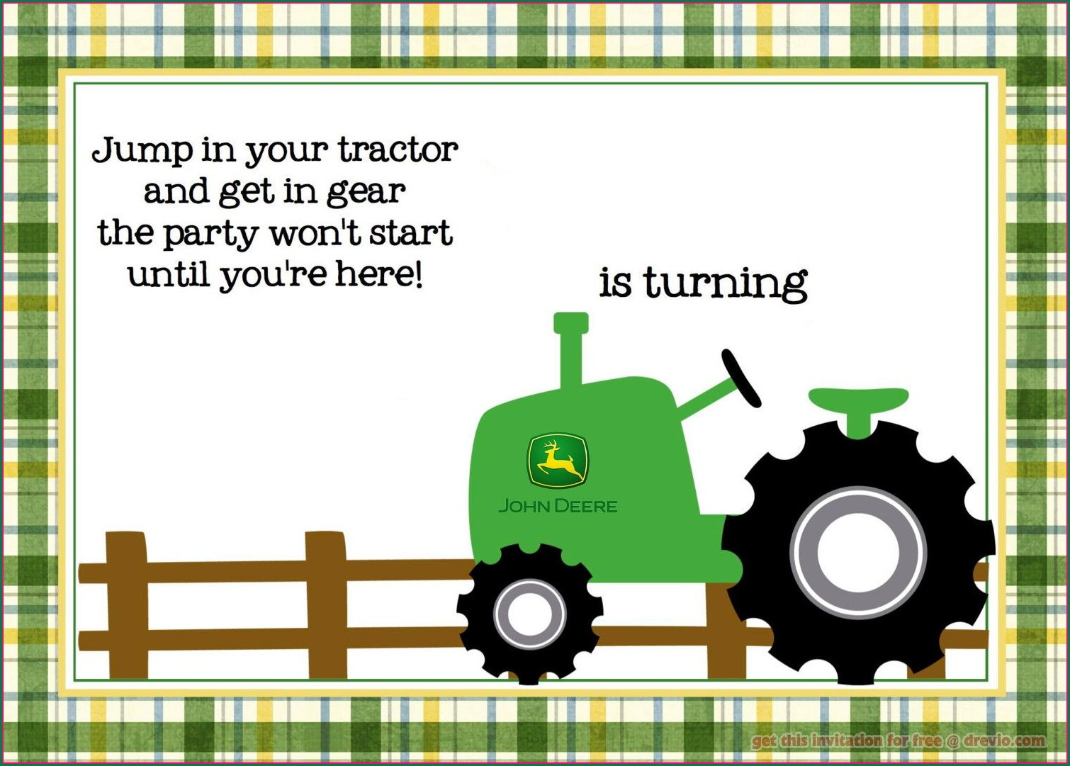 John Deere Birthday Invitation Templates Free