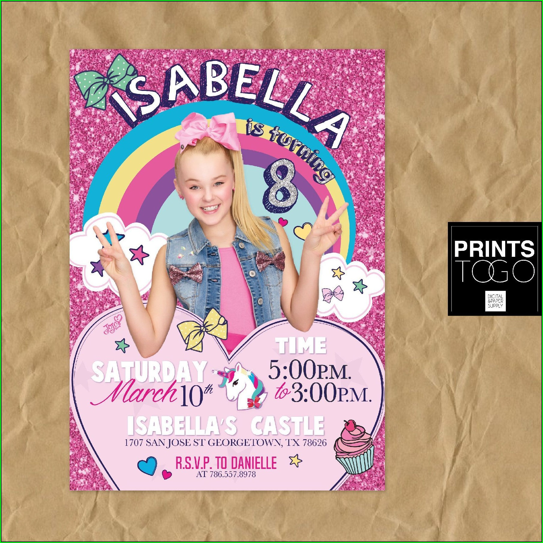 Jojo Siwa Birthday Party Invitations