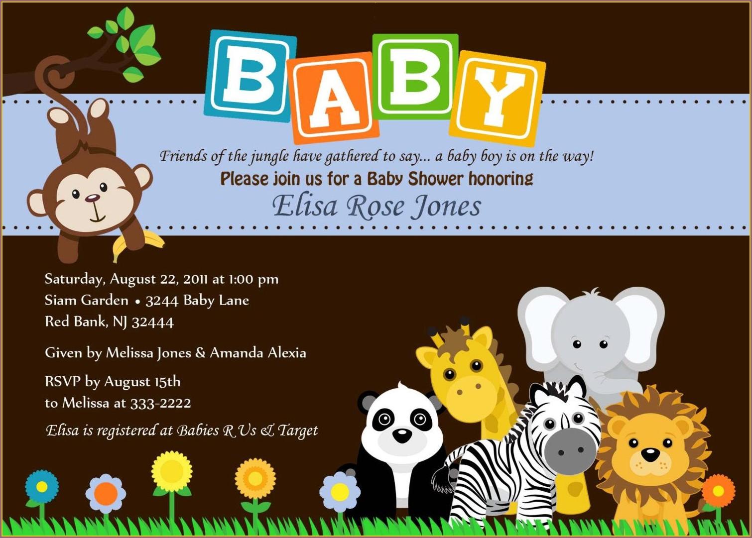 Jungle Animal Invitation Templates