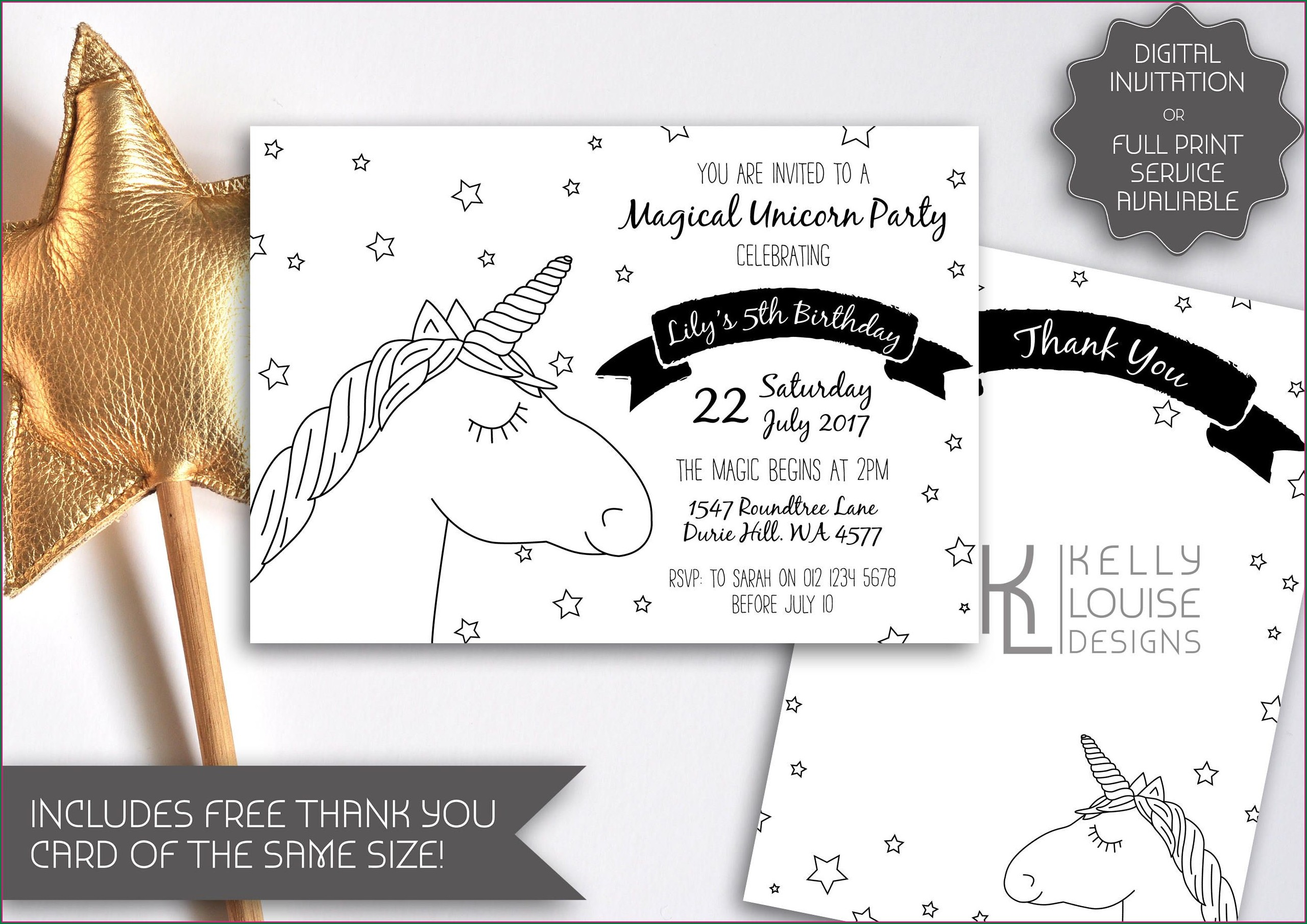 Kid Black And White Birthday Invitations