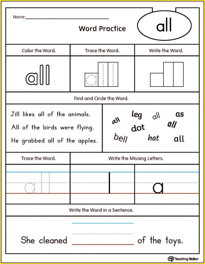 Kindergarten Free Name Tracing Worksheets