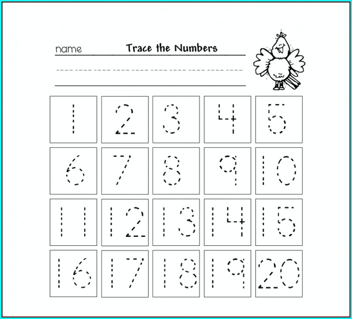 Kindergarten Free Number Tracing Worksheets
