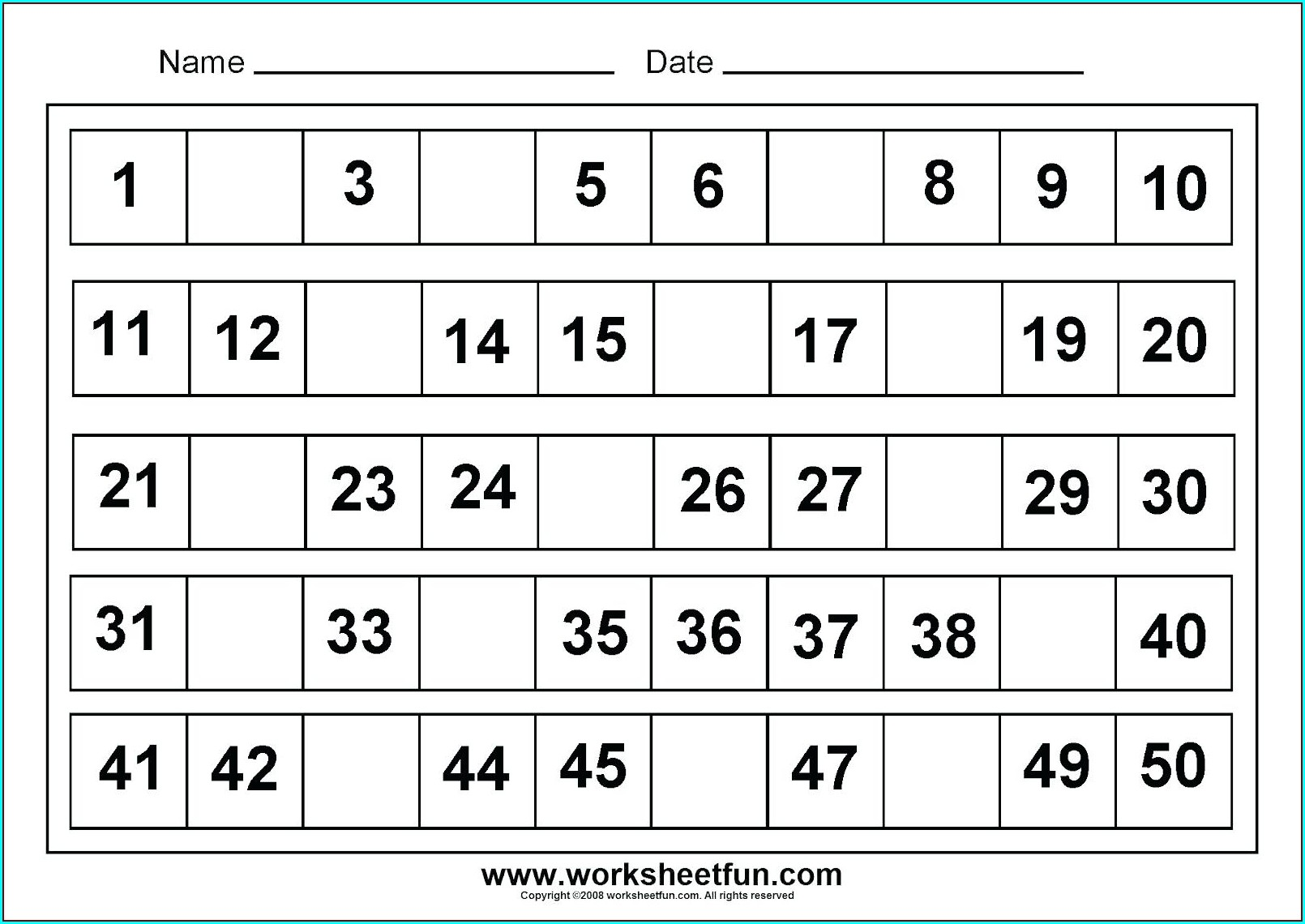 Kindergarten Number Tracing Worksheets 1 50