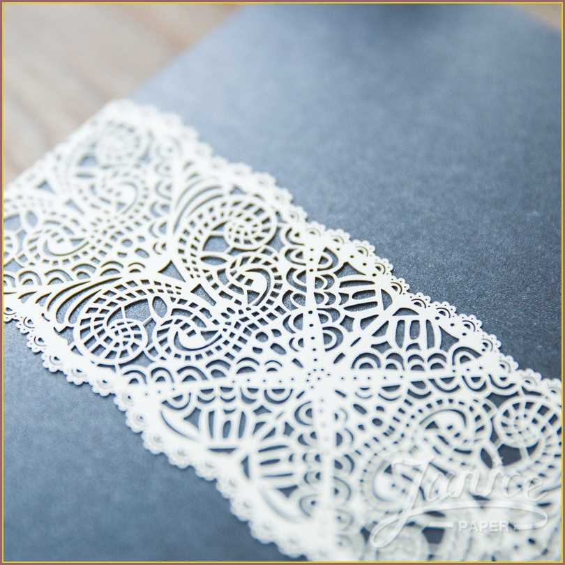 Lace Belly Bands For Wedding Invitations