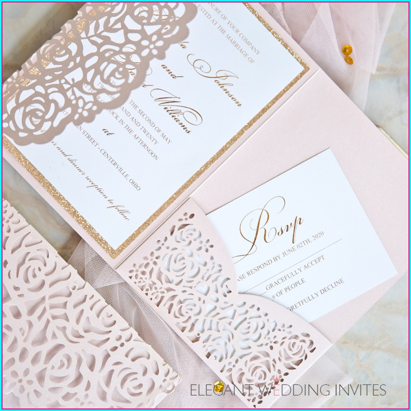 Lace Rose Gold Lace Rustic Wedding Invitations