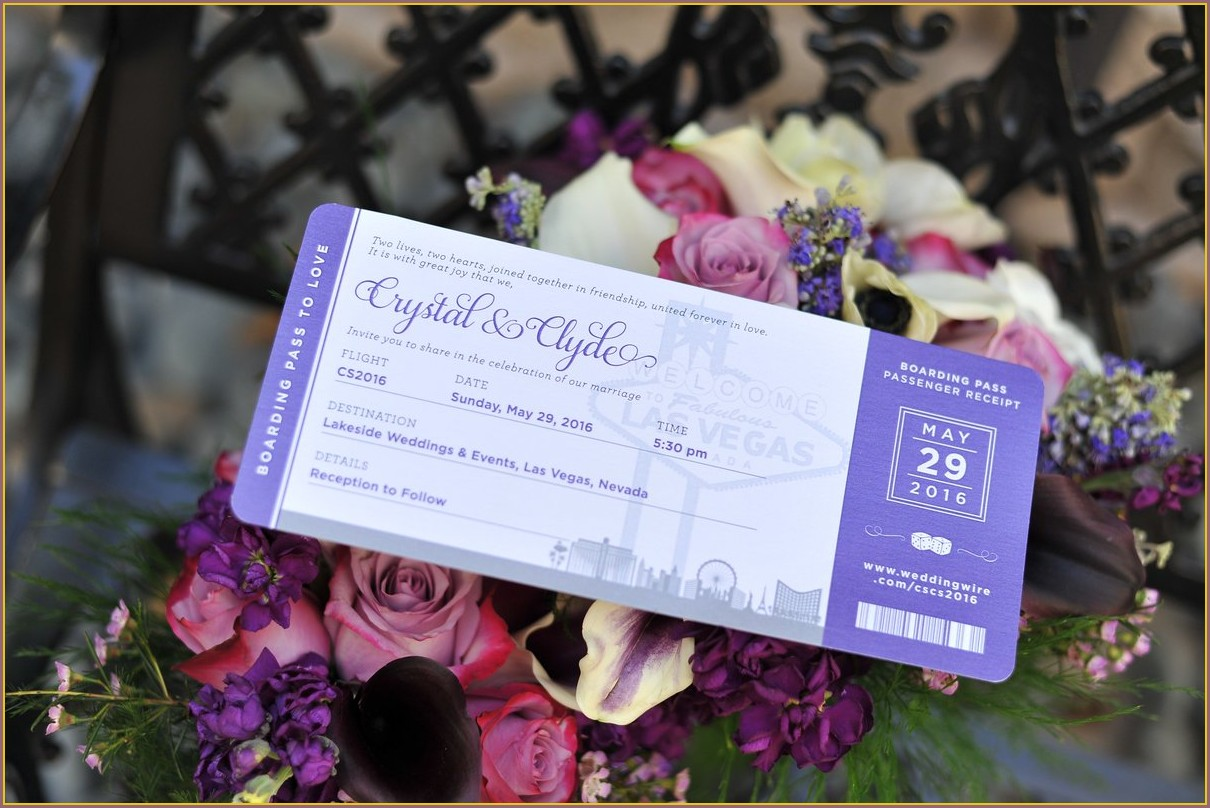 Las Vegas Boarding Pass Wedding Invitations