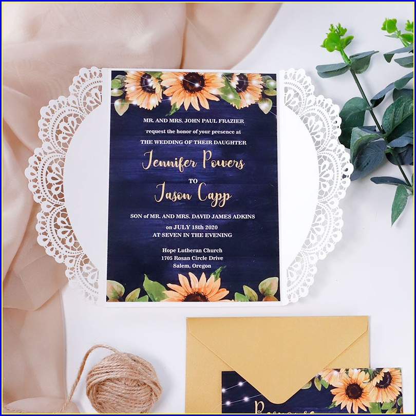 Laser Cut Wood Wedding Invitations