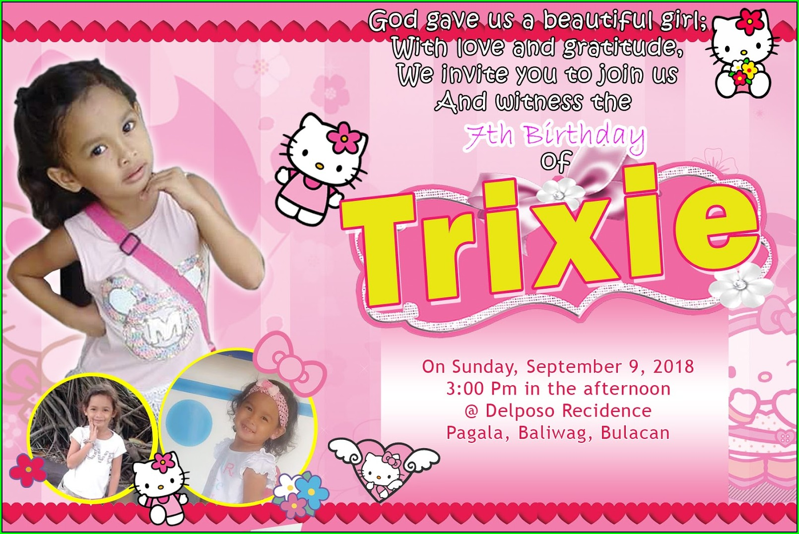 Layout Hello Kitty Birthday Invitation