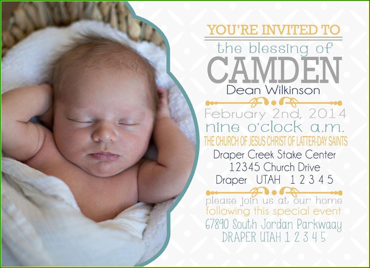 Lds Baby Blessing Invitation