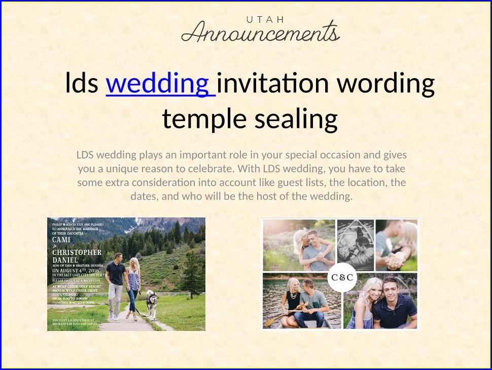 Lds Wedding Invitation Wording Temple Sealing