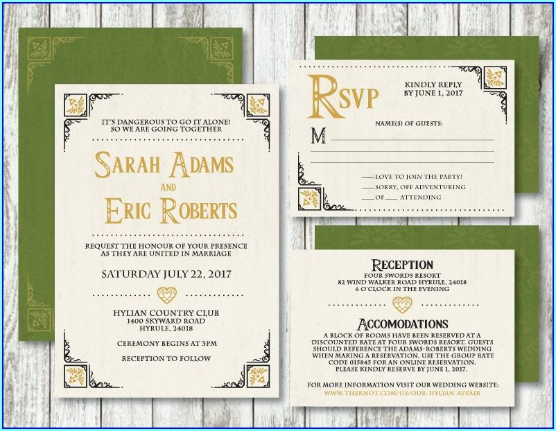 Legend Of Zelda Wedding Invitations