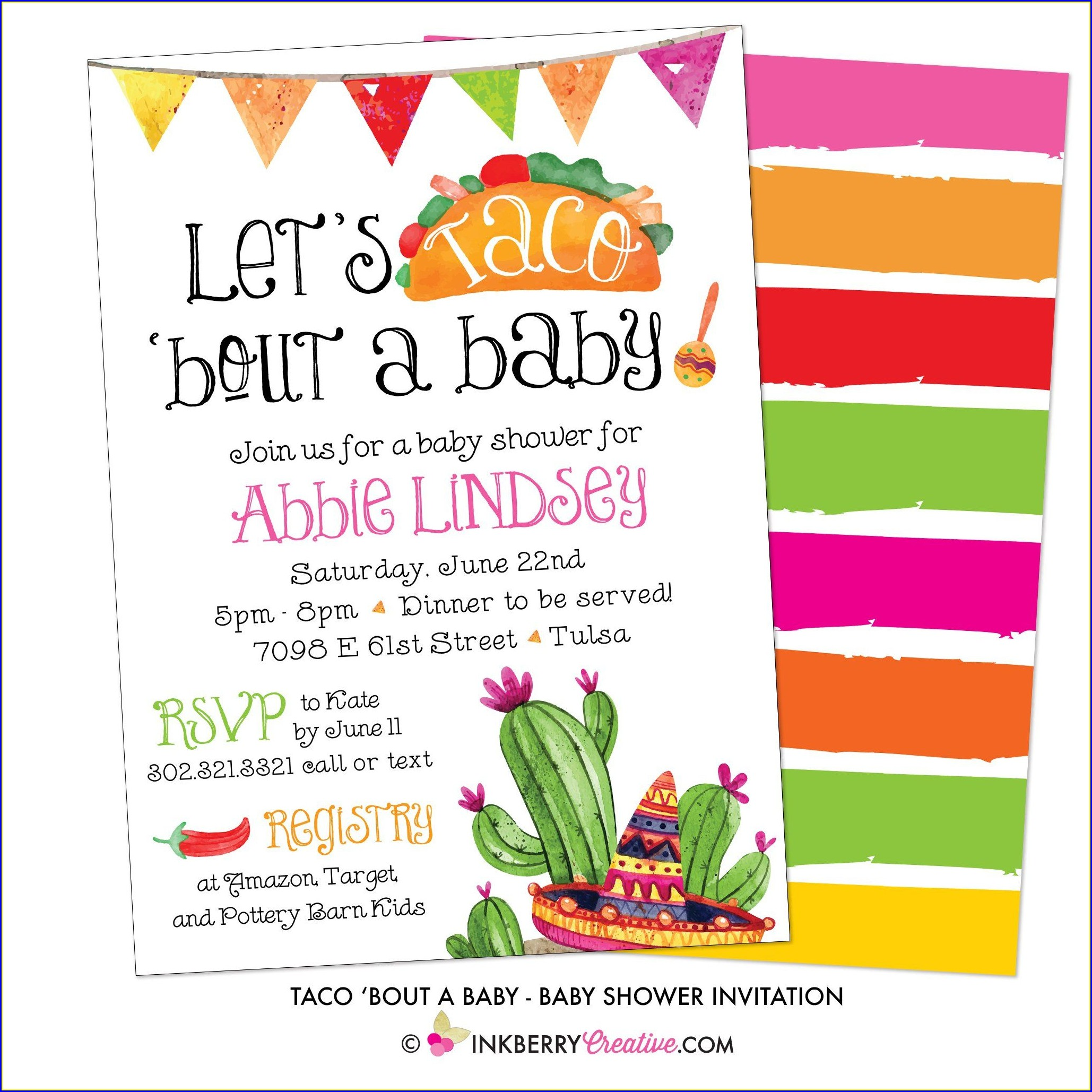 Lets Taco Bout A Baby Invitations