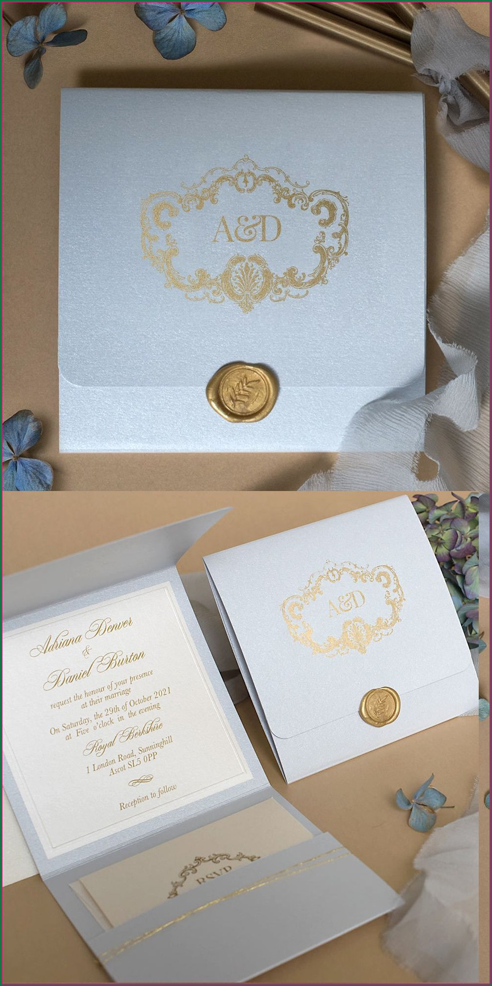 Light Blue And Gold Wedding Invitations