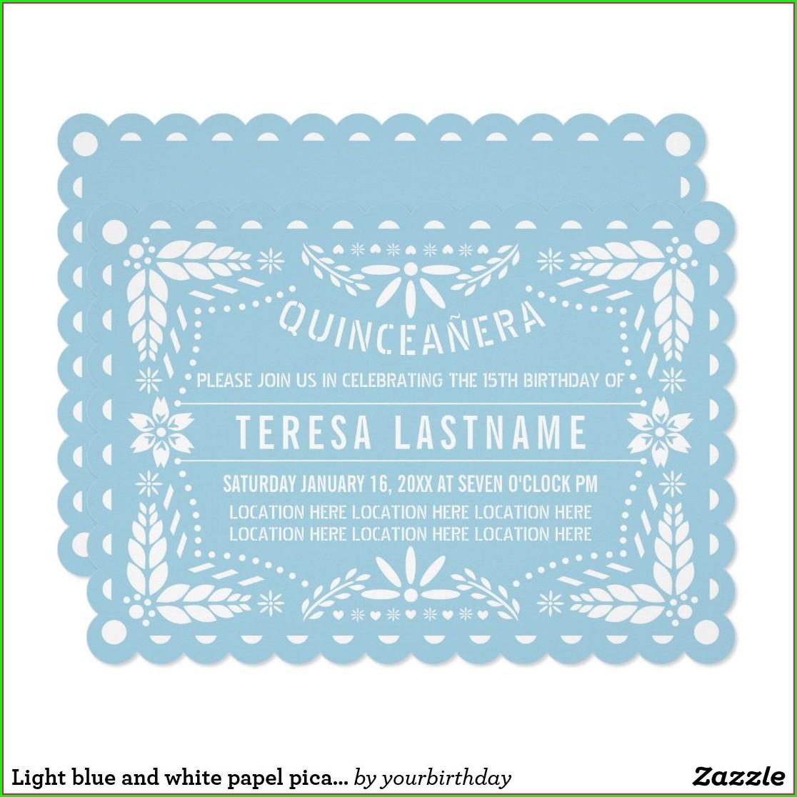 Light Blue Quinceanera Invitations