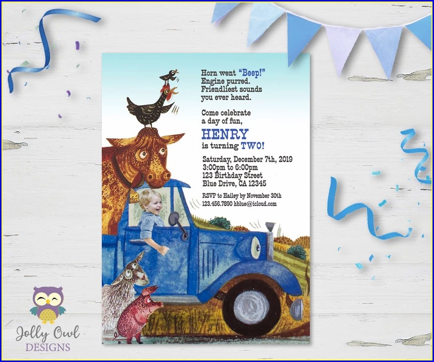 Little Blue Truck Invitations