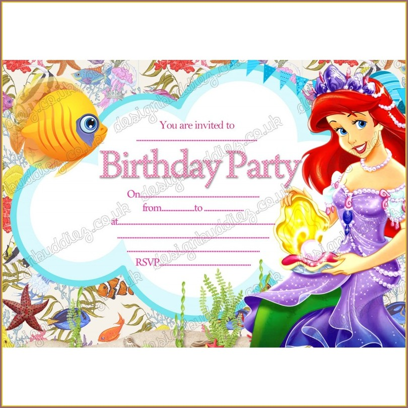 Little Mermaid Blank Invitations