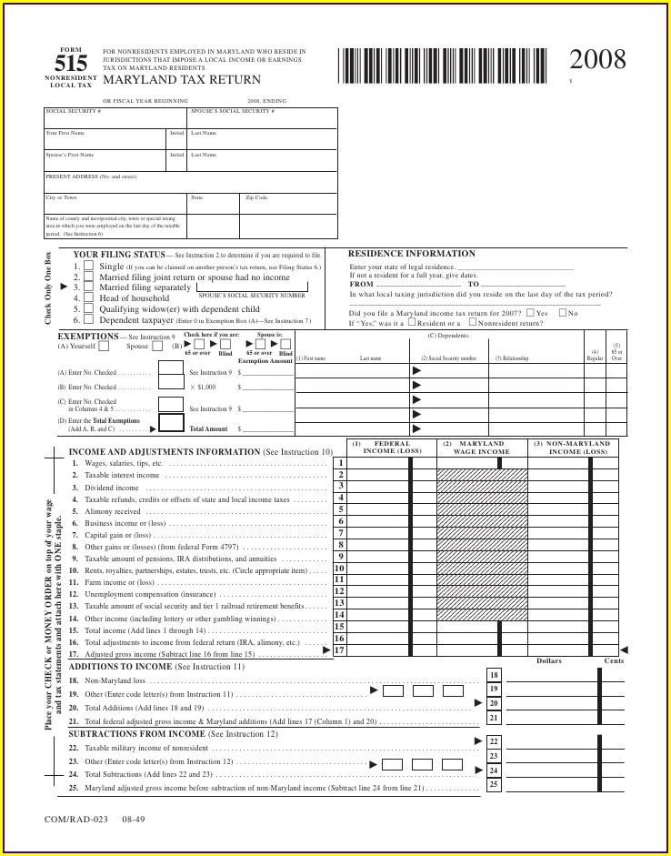 Local Tax Worksheet Maryland